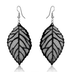 Fashion Bohemia Drop Earrings Hollow Gray Scrub Tree Leaves Long Earrings For Women Jewelry Boho Vintage Silver Color Earrings