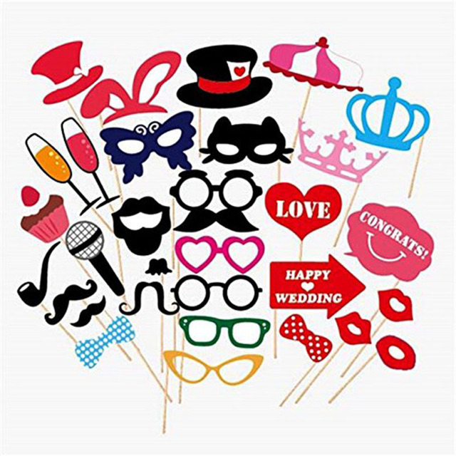 31 pcs set wedding photo booth props on a stick mustache lip diy kit