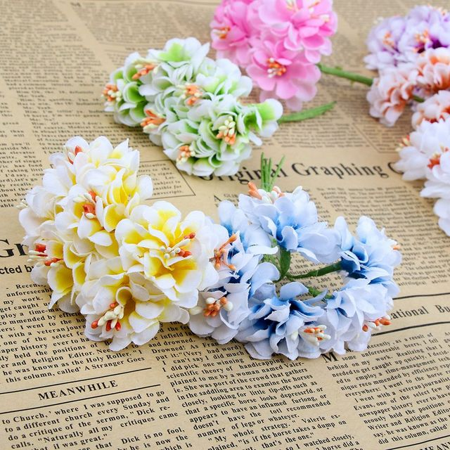 6e88bfe4ff142 US $0.47 11% OFF|6pcs Silk Gradient Stamen Artificial Flowers Handmade  Bouquet For Wedding Home Decoration DIY Scrapbooking Wreath Fake Flowers-in  ...