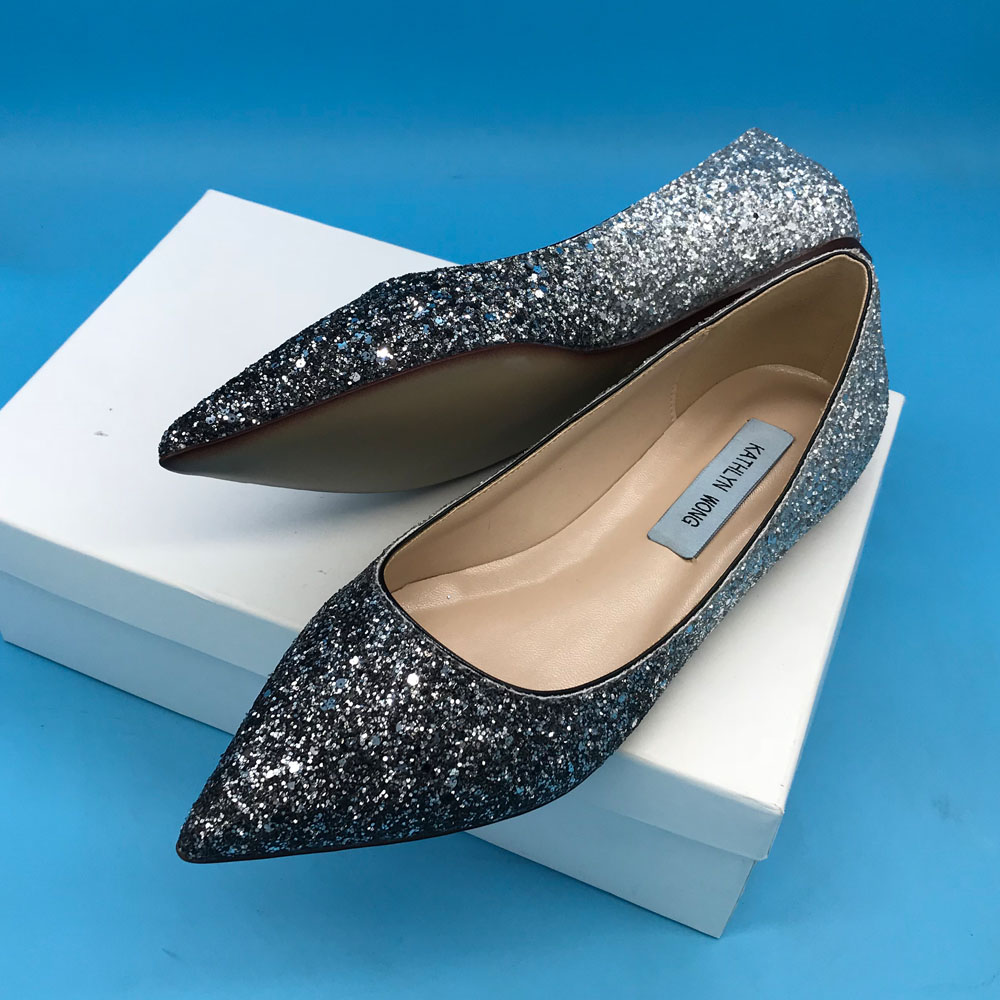 Kathlyn Wong Silver Bling Design Women Pointed Toe Metallic Shiny Leather Shoes Ballet Flats KWJ808
