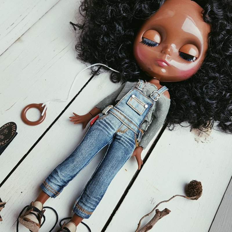 ICY Nude Blyth doll No BL9103 Black curly hair JOINT body Super Black skin BJD Neo