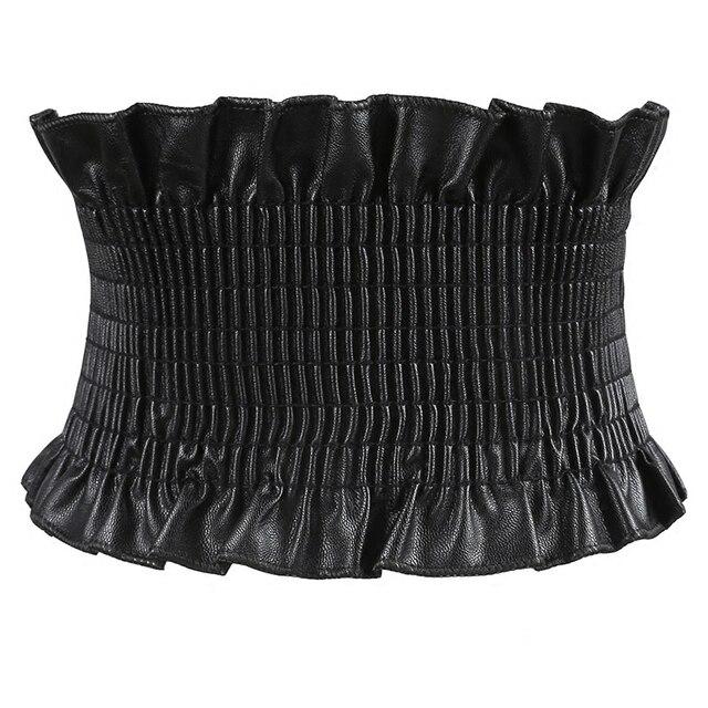 185ba89edb9809 Autumn PU Dress Belt For Women Super Wide Elastic Belt Corset For Women  High Waist Belt
