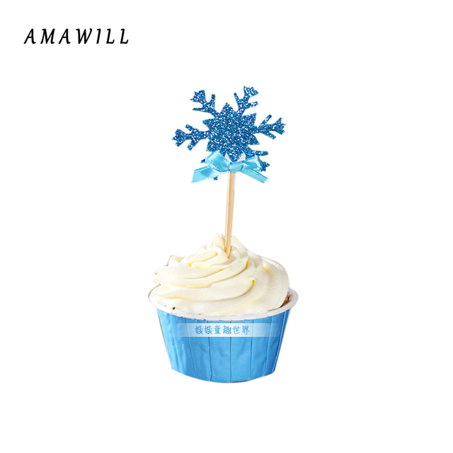 12p Snowflake Cupcake Toppers Baby Girl Frozen Birthday Party