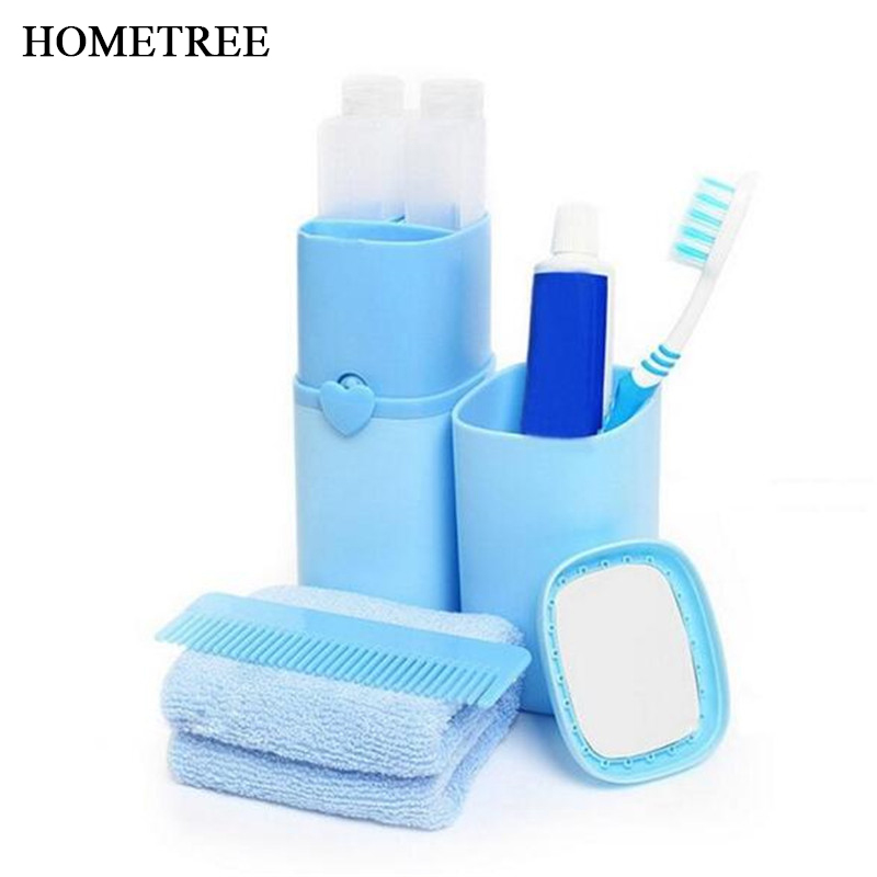 HOMETREE Portable Travel Set Toothbrush Cup Storage Box Home Organizer CandyToothpaste Tooth Brush Towel Wash Gargle Cup H130