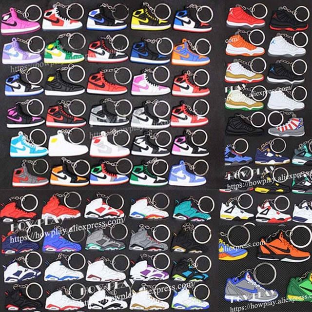 f80954afae HowPlay 100 pcs AJ Keychain Basketball Shoes Creative Gift key ring for Air  Jordan fans model