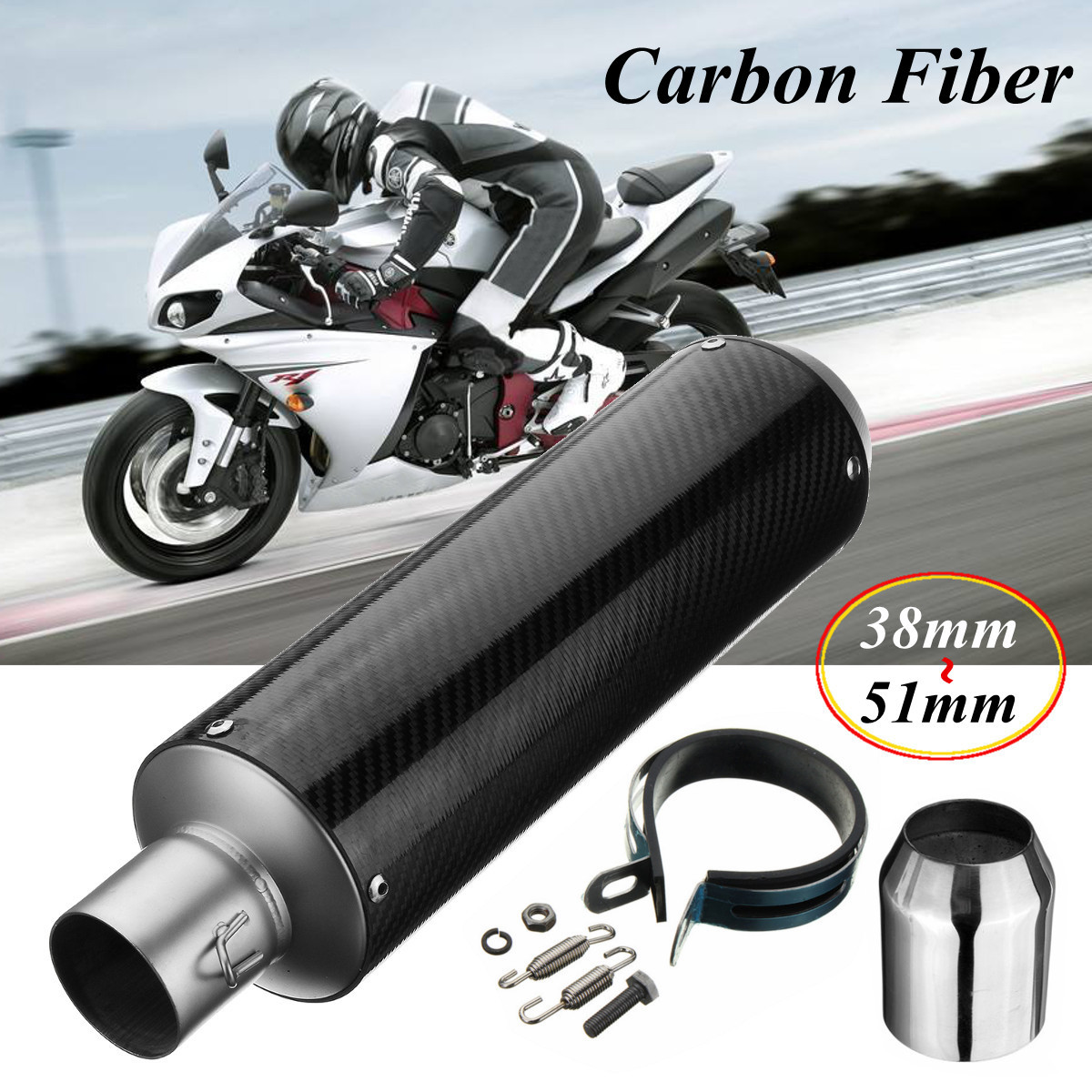 Universal Motorcycle 38-51mm Exhaust Muffler Pipe Tips Aluminum Tips Pipe Carbon Fiber Slip on ATV Racing Scooter