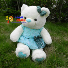 huge lovely white teddy bear doll plush teddy bear toy with blue skirt and bow birthday gift about 110cm