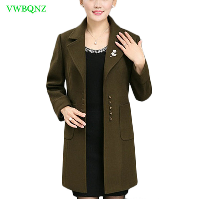Plus size Women Woolen Jacket Autumn Winter Loose Long Wool coat Upscale Women
