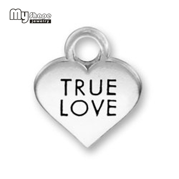 My Shape Pcs Lot  Mm Zinc Alloy Word Heart Charms True Love Alphabet Charm Message Charms Pendant For Jewelry Making In Charms From Jewelry