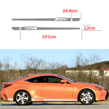 2X Universal Car Racing White OR Grey Long Stripe Graphics Side Body Vinyl Decal Sticker цена и фото