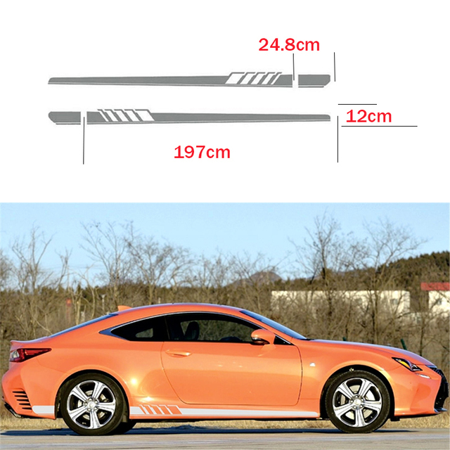 2x universal car racing white or grey long stripe graphics side body vinyl decal sticker