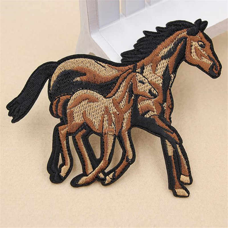 Women/Men/Kids/Baby Cartoon horse Iron on patches for clothing deal with it Applique embroidery patch Diy Stickers for clothes