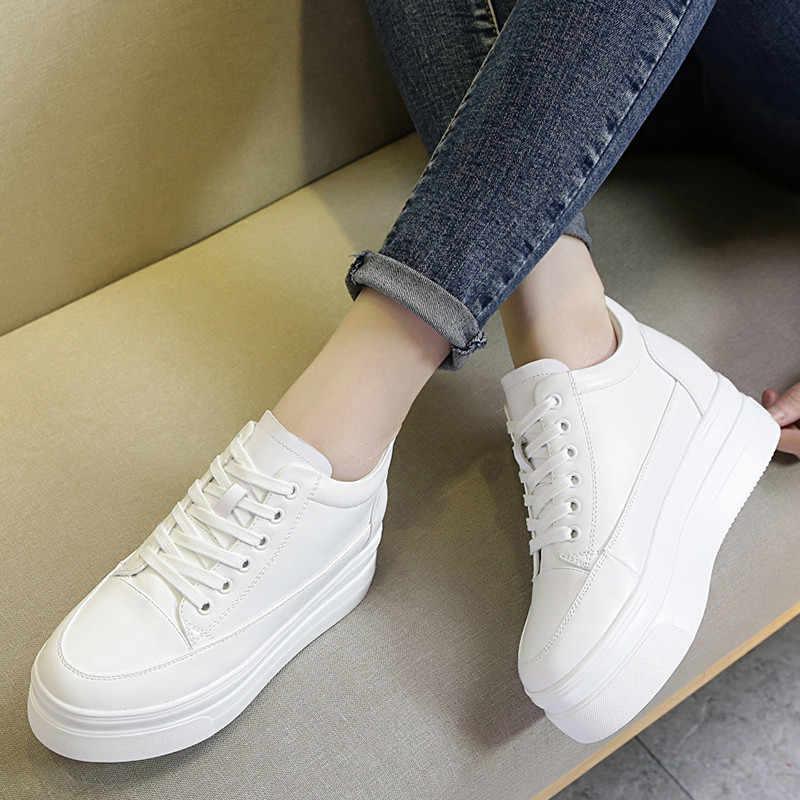 หญิงสีขาวซ่อนรองเท้า 7 ซม. แพลตฟอร์มรองเท้าผ้าใบ 2019 ฤดูใบไม้ผลิ Casual รองเท้า Chunky Sole Wedges รองเท้าผ้าใบสำหรับ