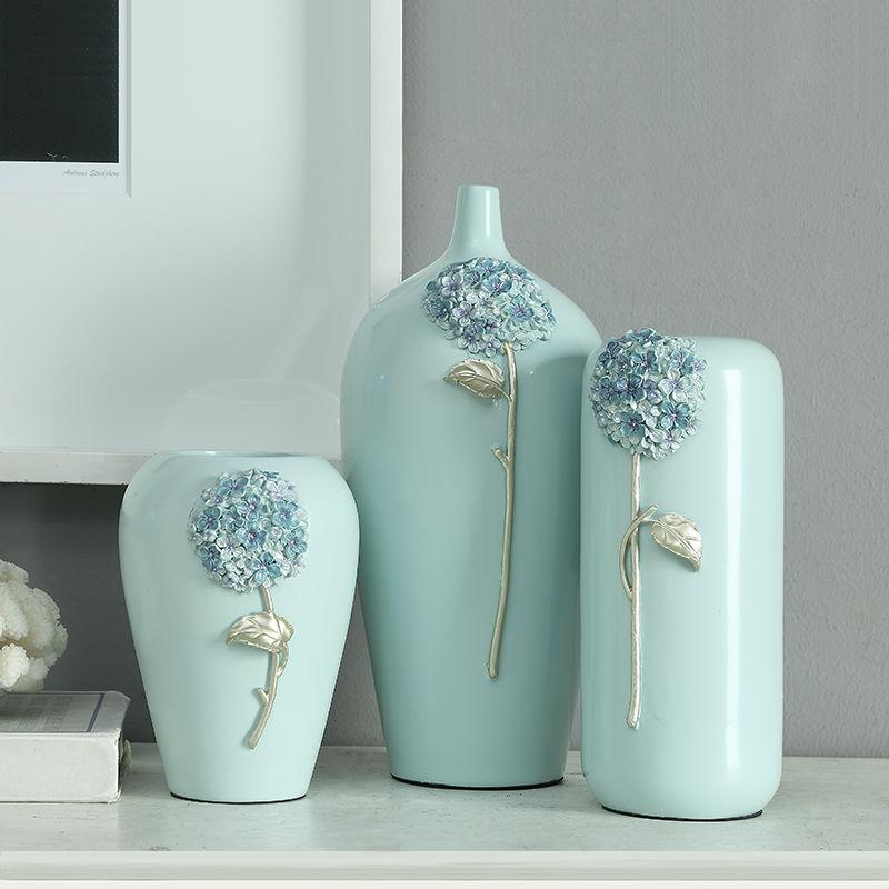 Hydrangea Reusable Resin Flower Vase Home Decoration European