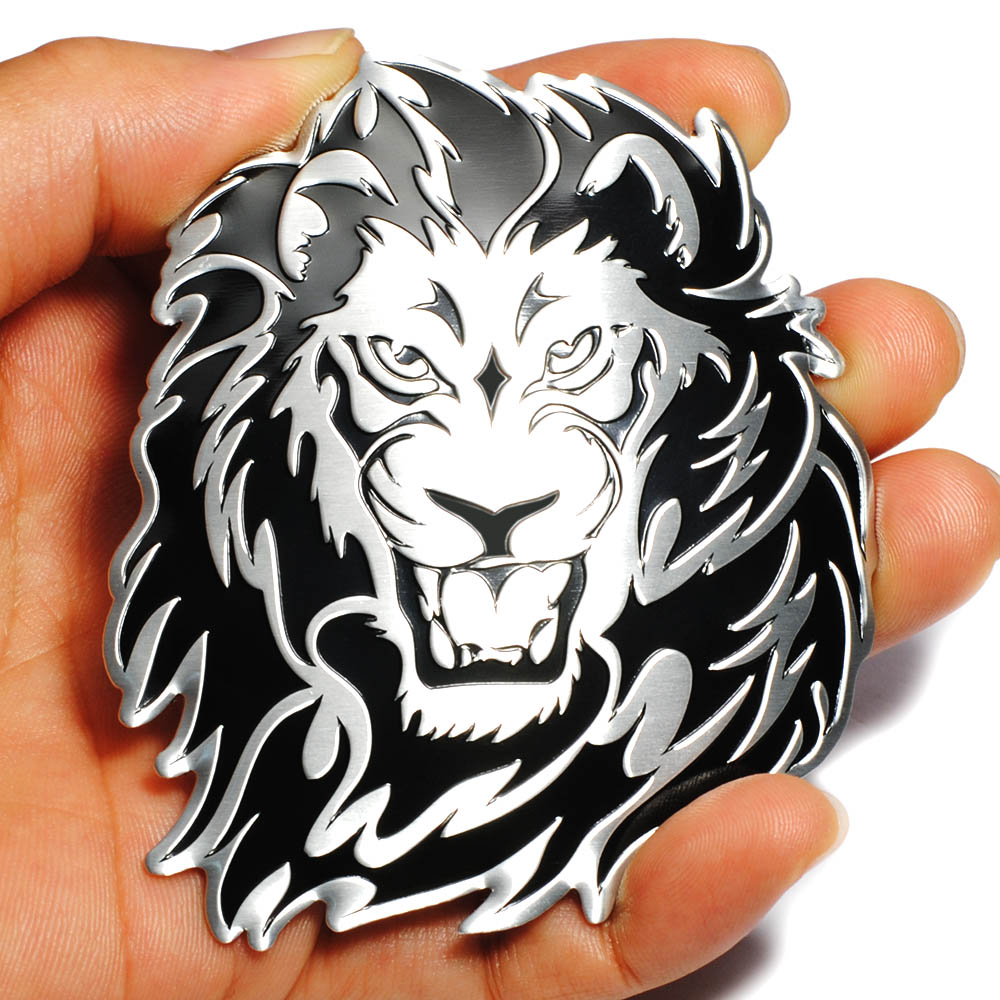 Car Decoration Animal Stickers Logo Metal 3D Creative Lion Aluminium Emblem Badge Decal Motorcycle Auto Styling Car Accessories 1 pair door protector anti collision canada flag emblem 3d car stickers creative car styling automobile accessories