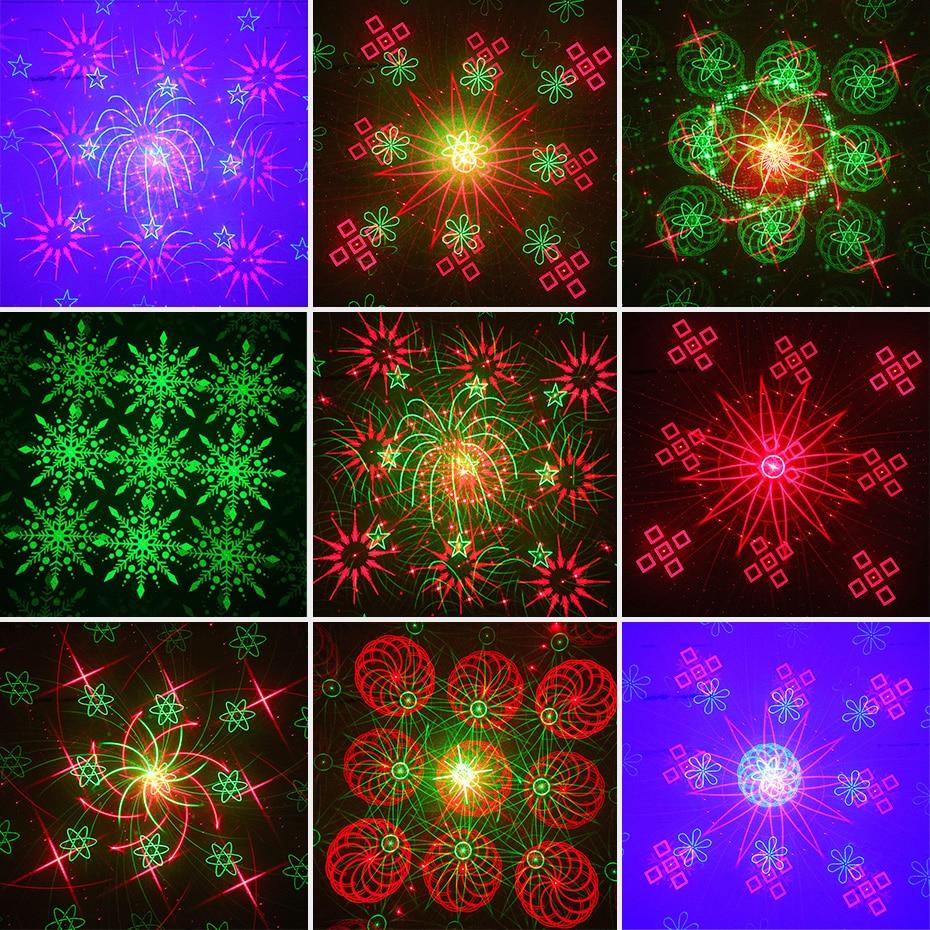 ALIEN remoto doble rojo verde 128 patrones etapa Proyector láser efecto de Iluminación DJ Disco Party Club Bar Luz de Navidad con LED azul - 5