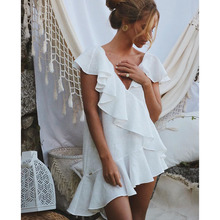 Sexy White Ruffle Beach Dress Cover up Kaftans Sarong Bathing Suit Cover ups Pareos Swimsuit Womens Swim Wear Beach Tunic