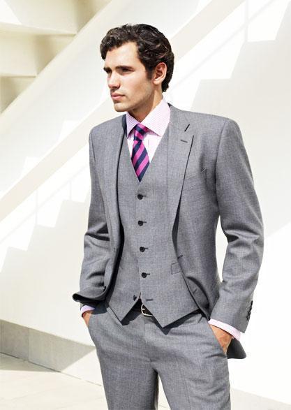 Nova Chegada entalhado lapela cinza claro noivo smoking ternos de casamento para homens 3 peças ternos de casamento do noivo formal slim fit ternos