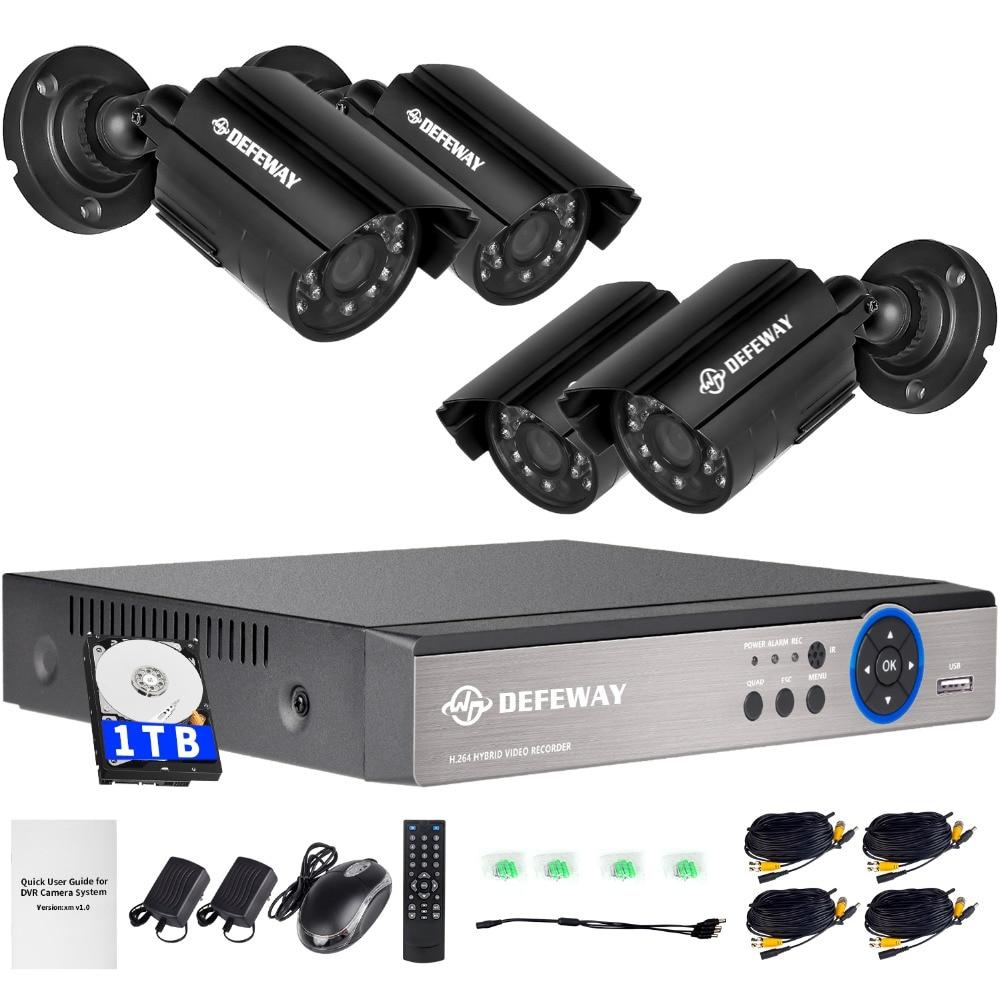 Система DEFEWAY 4CH CCTV 720P HDMI AHD CCTV DVR 1 TB HDD 4шт 1МП инфракрасные камеры охраны для внешнего наблюдения 1200 TVL