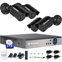 DEFEWAY 1TB HDD 4ch HD 1080P 960H Smartphone Security Surveillance CCTV System DVR NVR Kit 800TVL