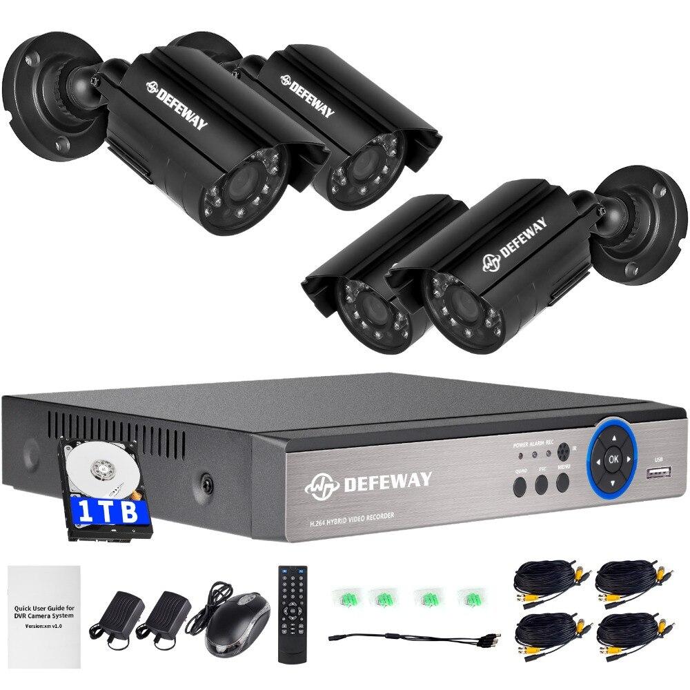 DEFEWAY 1080N DVR 1200TVL 720 P HD Système de Caméra de Sécurité En Plein Air 1 TB Disque Dur 4CH DVR CCTV Surveillance Kit AHD Caméra ensemble
