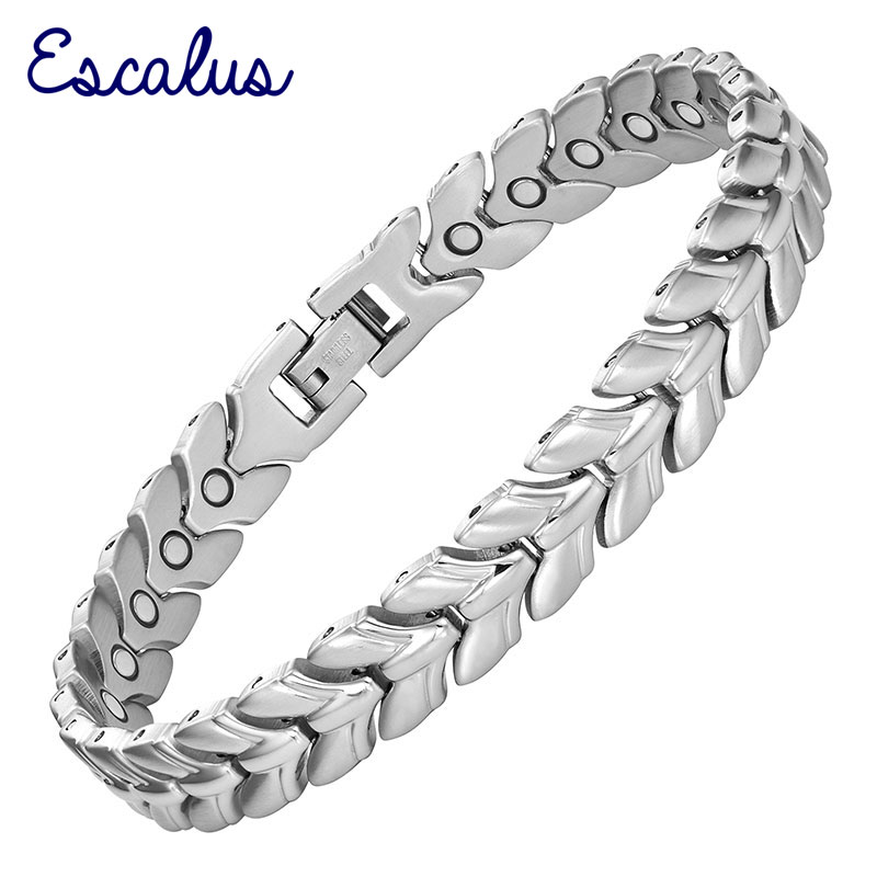 Escalus Bangle Women Magnetic Hand Wearing Silver Stainless Steel Bracelet Ladies Gift Jewelry Magnets Wristband Charm цена