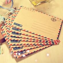 Продажа 80 шт./лот 17.5*12.5 см ретро крафт-Воздушная почта классический коричневый конверт и белая бумага конверты