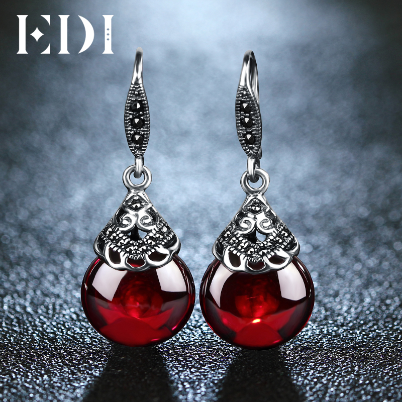 EDI Retro Round Gemstone Garnet Earrings Female 100% 925 Sterling Silver Fine Jewelry