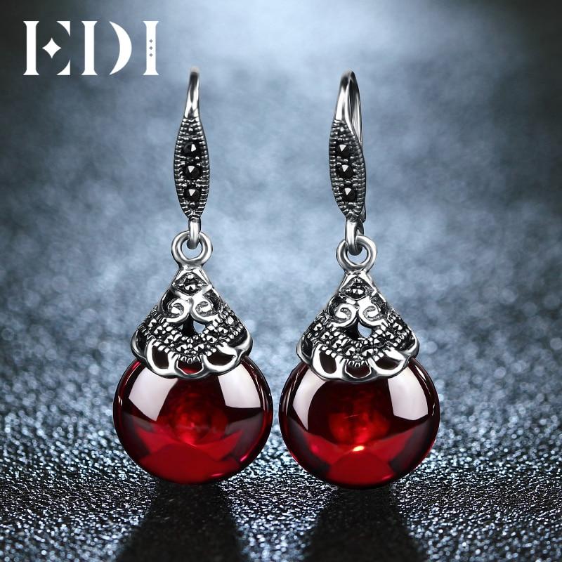 EDI Retro Round Gemstone Garnet Earrings Female 100% 925 Sterling Silver Fine Jewelry
