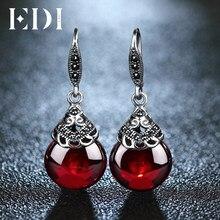 82a20279e07d EDI Retro de piedras preciosas pendientes de granate mujer 100% Plata de Ley  925 joyería fina