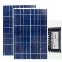 Solaire Kit 200w Pannello Solare 12v 100w 2 szt. Regulator ładowania słonecznego 12 v/24 v 30A ładowarka solarna na zewnątrz samochodu kempingowego w Ogniwa słoneczne od Elektronika użytkowa na