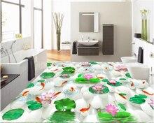 beibehang Beautiful high pvc wallpaper fashion Chinese lotus carp bathroom self-adhesive waterproof 3d flooring papel de parede