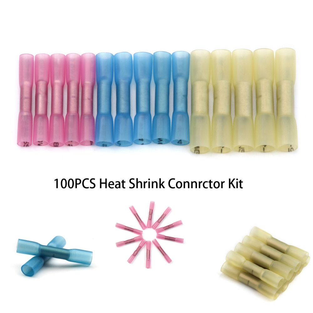 цена на 100PCS/set Heat Shrink Butt Crimp Terminals 3 Sizes Insulated Electrical Wire Cable Connectors Red Blue Yellow For 22-10 AWG