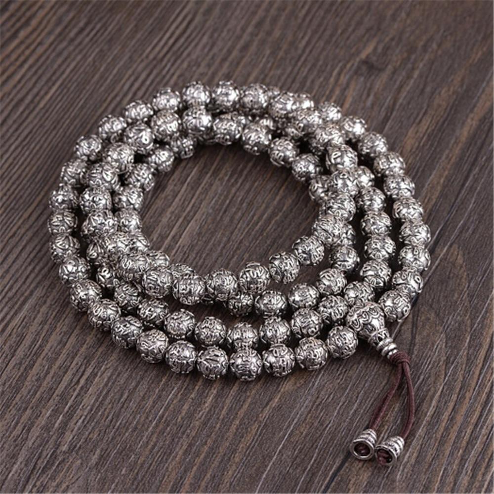 HFANCYW 8 MM 108 perles Mantra Mala hommes ou femmes rétro 925 en argent Sterling Six mots 108 Bracelet de prière et collier cadeau livraison directe