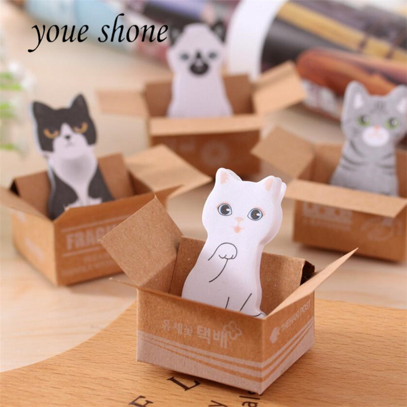 1PCS3D Cartoon Kawaii Cat Scrapbooking Sticky note Box Stickers Stationery Sticky Notes Office School Supplies Post It Memo Pad