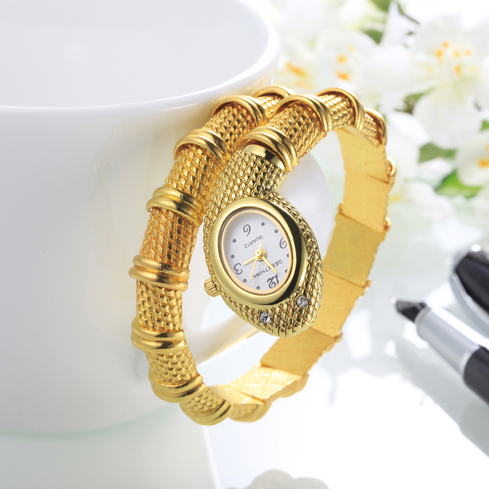 Female Bracelet Fashion Gold Silver Brand Quartz Watch Women Luxury Brand Ladies Snake Wrist Watch Bangle Diamond Clock