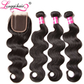 7A Peruvian Virgin Hair 3 Bundles With Closure Peruvian Body Wave Longqi Peruvian Virgin Hair With Closure Human Hair Weave Wavy