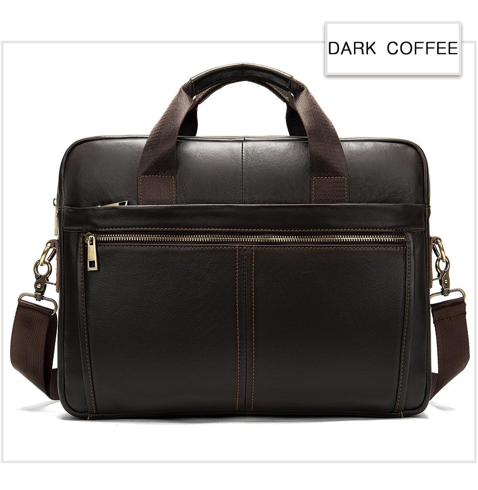 WESTAL briefcase messenger bag men's genuine leather 14'' laptop bag men's briefcases office business tote for document 8572