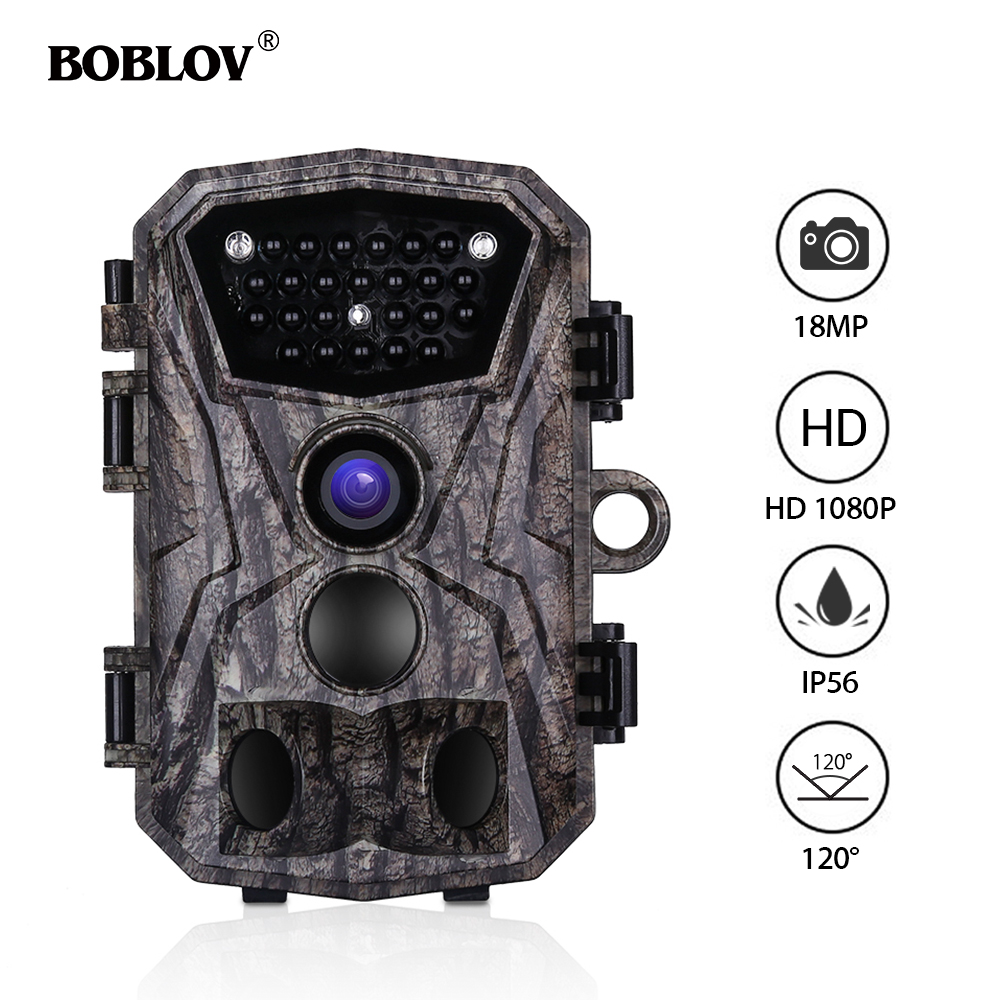 BOBLOV H883 18MP 1080P Hunting Trail Camera 24 Infrared LEDs 120 Degree PIR Lens Scouting Wildlife