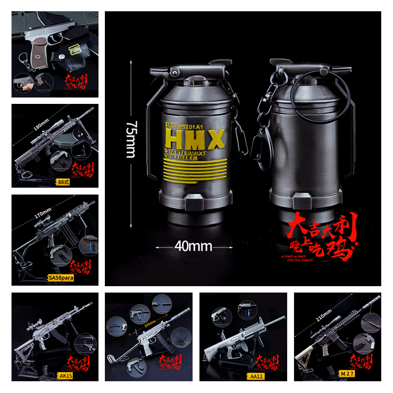 Game PUBG New Playerunknown's Battlegrounds Cosplay Props Tear bomb AK15 AA12 M27 Gun Key ring Weapons Toy Keychain 6Pcs/Set
