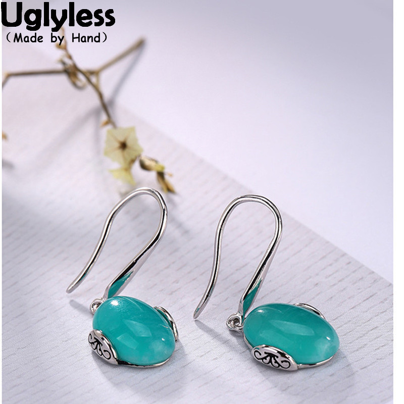Uglyless Real 925 Sterling Silver Natural Blue Amazonite Earrings Vintage Engraved Patterns Women Dress Brincos Ethnic JewelryUglyless Real 925 Sterling Silver Natural Blue Amazonite Earrings Vintage Engraved Patterns Women Dress Brincos Ethnic Jewelry