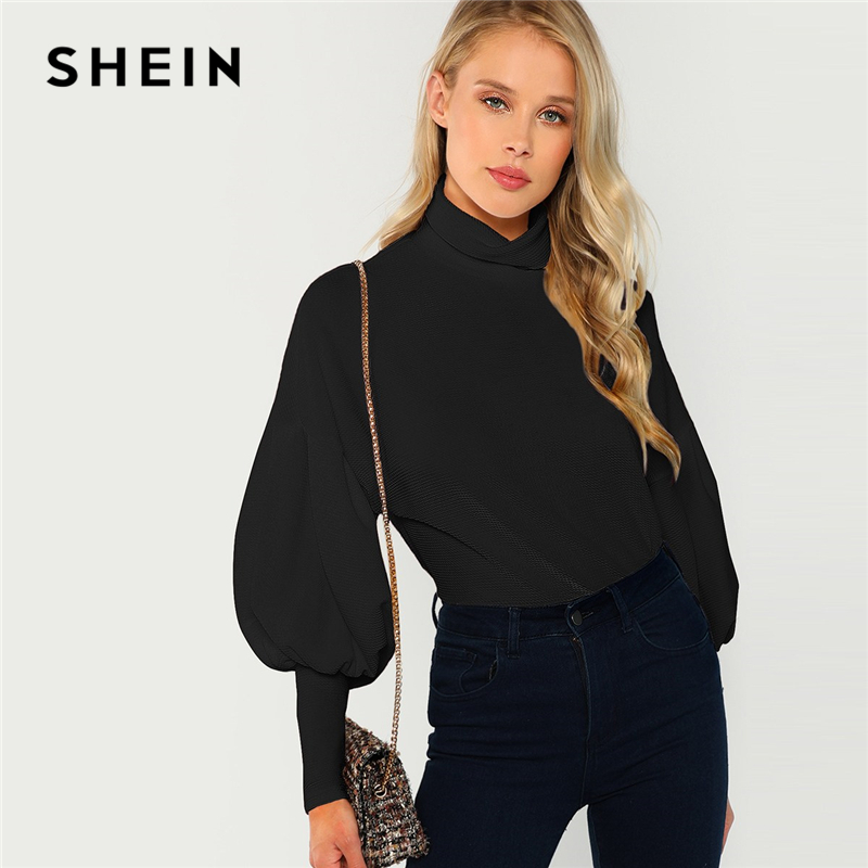 SHEIN Black Office Lady Mock Neck Leg-of-Mutton Sleeve Solid Pullover Sweatshirt Autumn Workwear Elegant Women Sweatshirts