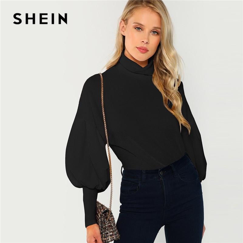 SHEIN Black Office Lady Mock Neck Leg-of-Mutton Sleeve Solid Pullover Sweatshirt Autumn Workwear Elegant Women Sweatshirts