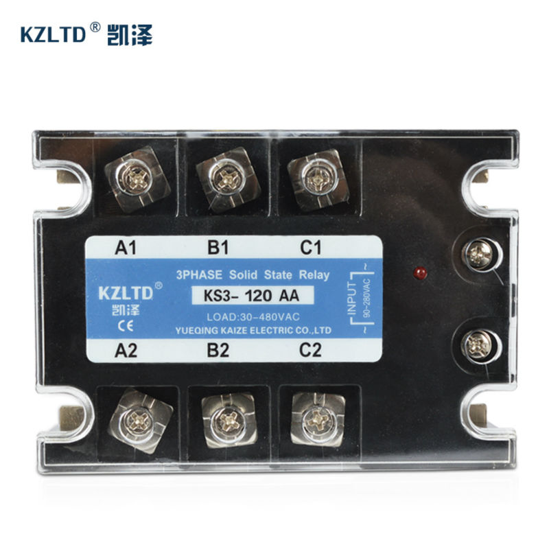 KZLTD AC-AC Three Phase Solid State Relay SSR 120A 90-280V AC to 30-480V AC Relay Solid State Relay 120A 3 Phase High Quality
