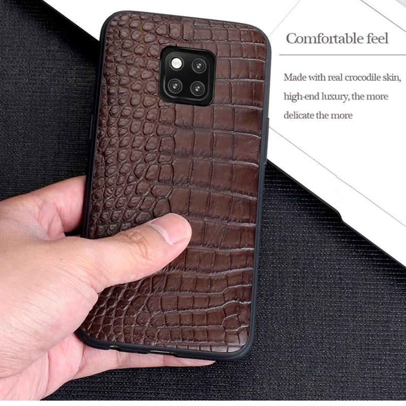 Pour Mate 20 LANGSIDI coque de téléphone Litchi grain pleine enveloppe Capa pour Huawei Mate 20 pro véritable Crocodile cuir fait à la main personnalisé - 6