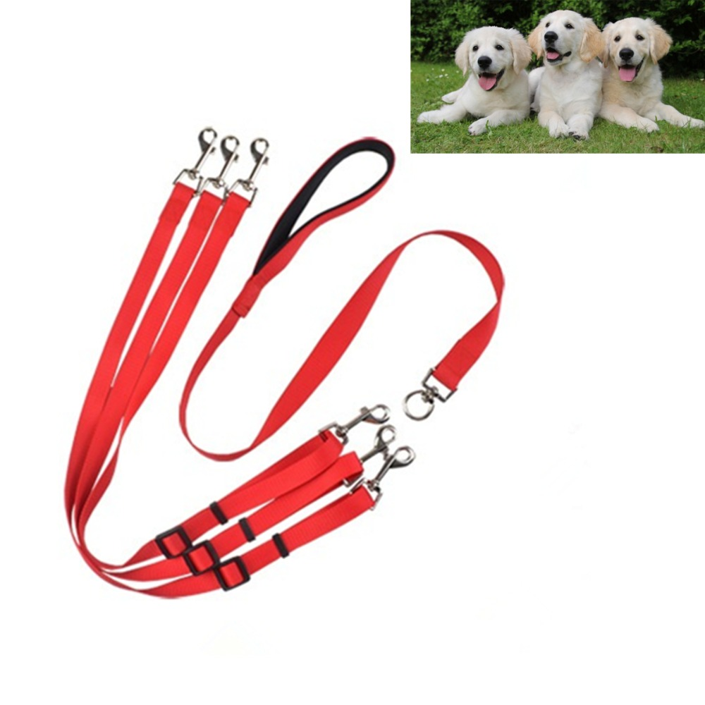 C50 Strong Nylon ribbon Three heads One drag three dog leash Adjustable 1 to 3 dog Pet traction rope handy Safety Triple Lead