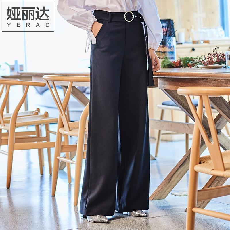 YERAD 2019 Spring New Women Long   Pants   Casual Loose Belt Black   Wide     Leg     Pants   OL Palazzo Trousers