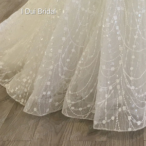 Image 2 - Shinny Bling Wedding Dress Bridal Gown V Neck Ball Gown Illusion Button Back