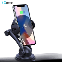 FDGAO Qi Wireless Car Charger 15W Auto Clamping 2.5D Glass Fast Charging Car Phone Holder For Xiaomi Mi 9 iPhone 8 X XR XS MAX
