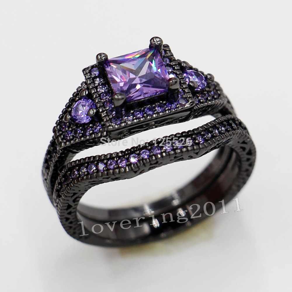 Choucong Antique Jewelry Lovers Purple 5a Zircon Stone 10kt Black Gold  Filled 2 Wedding Band Ring